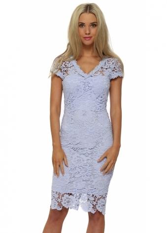 Paper Dolls Chloe Lewis Blue Crochet Pencil Dress