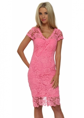 Chloe Lewis Candy Pink Crochet Pencil Dress