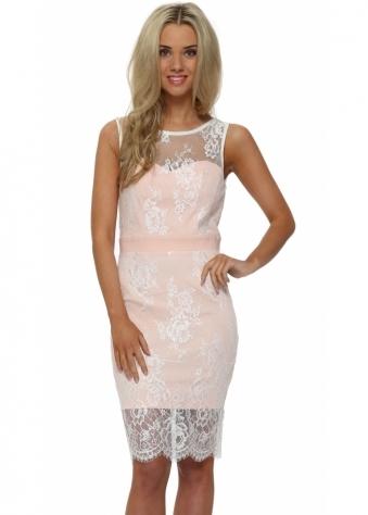 Paper Dolls Blush Pink Lace Overlay Midi Dress