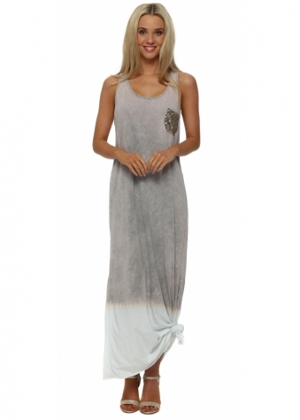 Made In Italy Taupe Ombre Knotted Maxi Dress