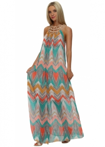 My Story Abstract Print Beaded Collar Maxi Dress
