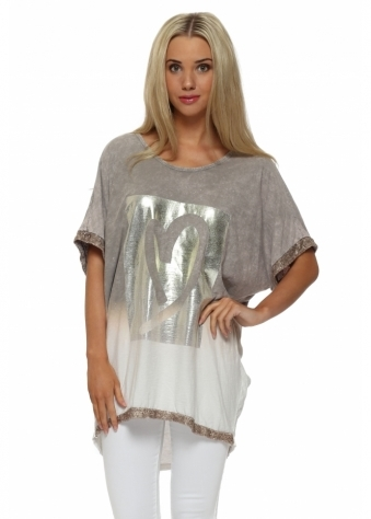 Made In Italy Taupe Distressed Gold Foil Heart Top