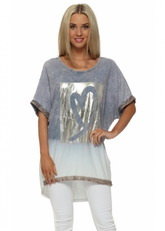 Made In Italy Blue Distressed Gold Foil Heart Top