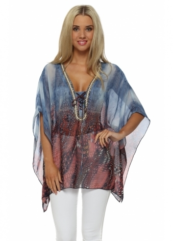 French Boutique Blue Print Gold Chain Kaftan Top