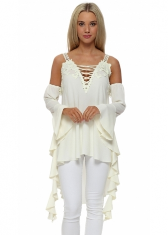 Legende By Angel Cream Cold Shoulder Waterfall Top