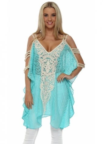 Laurie & Joe Gold Braid Turquoise Lace Tunic Top