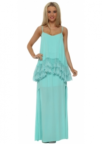 Legende By Angel Turquoise Frilled Lace Bib Maxi Dress