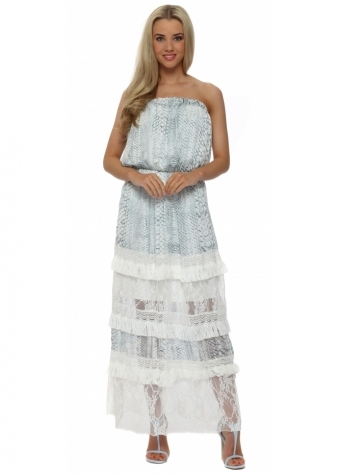 My Story Blue Snake Tiered Lace Bandeau Maxi Dress