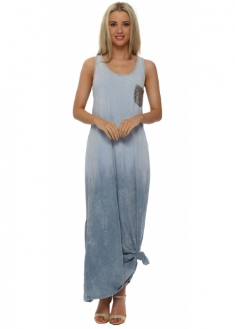 Made In Italy Blue Knotted Ombre Maxi Dress