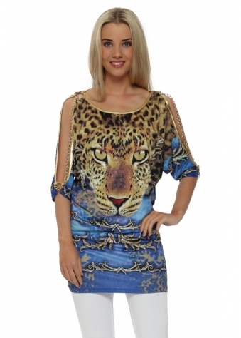 French Boutique Gold Chains Blue Crystal Leopard Top