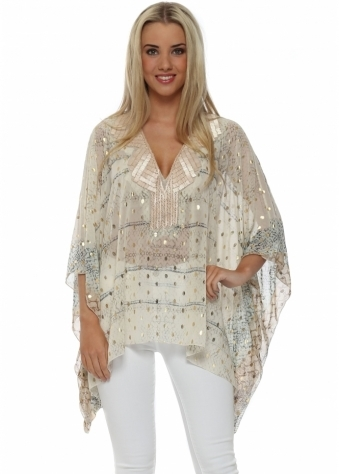 My Story Beige Gold Foil Beaded Top