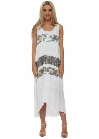J&L Paris White Sequinned Silk Hi Low Dress