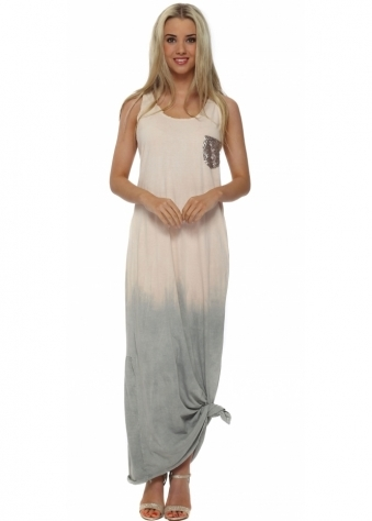 Made In Italy Peach Ombre Knotted Maxi Dress
