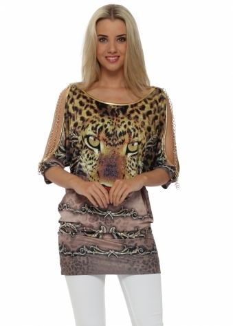 French Boutique Gold Chains Taupe Crystal Leopard Top