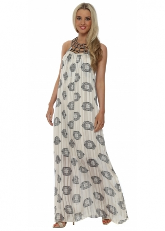 Beige Paisley Print Beaded Collar Maxi Dress