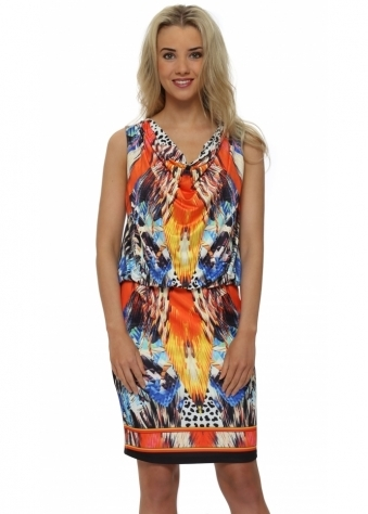 Draped Orange Print Shift Dress
