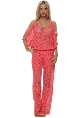 French Boutique Coral Lace Cold Shoulder Jumpsuit