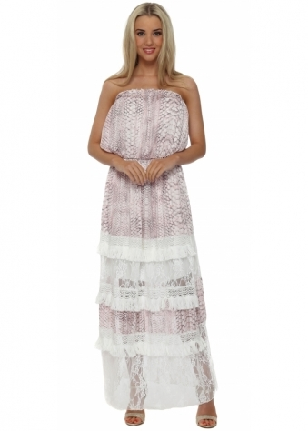 My Story Pink Snake Tiered Lace Bandeau Maxi Dress