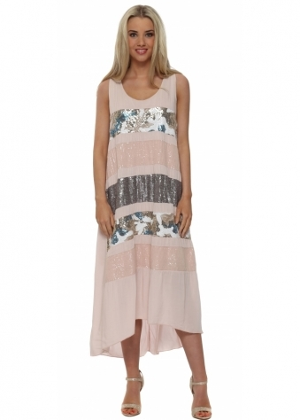 J&L Paris Pink Sequinned Silk Hi Low Dress