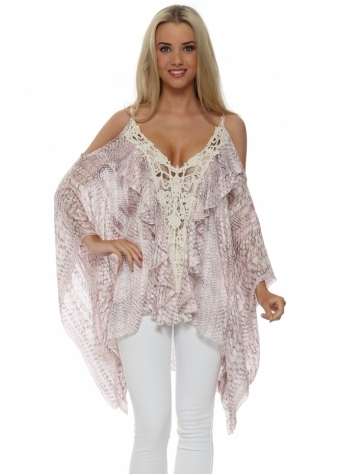 My Story Pink Snake Print Crochet Cold Shoulder Top