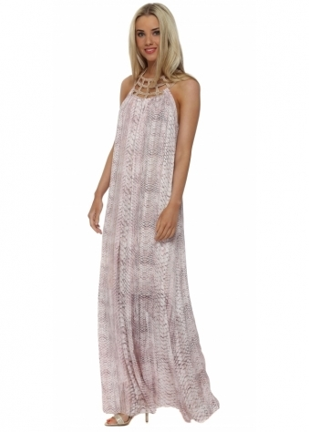 Pink Snake Print Beaded Collar Maxi Dress