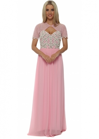 Laima Pink Embellished Maxi Dress
