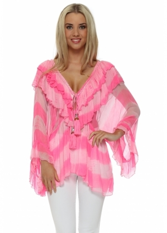 Laurie & Joe Candy Pink Stripe Tunic Top