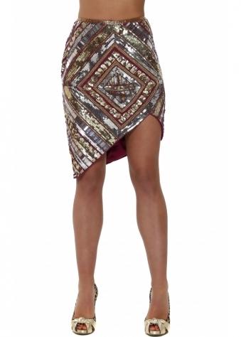 Lula Fully Embellished Mini Skirt