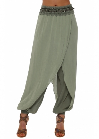 Made In Italy Khaki Coins & Lace Harem Pants