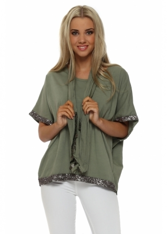 Made In Italy Khaki Sequinned Trim Top & Scarf