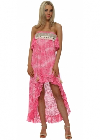 Pink Lace Boho Bandeau Hi Low Dress