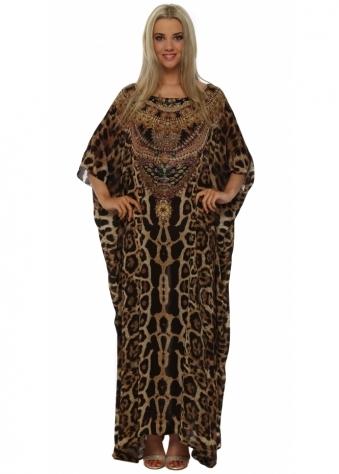Designer Desirables Leopard Crystal Embellished Silk Maxi Kaftan