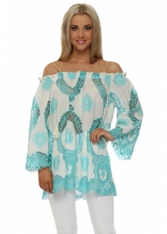 Just M Paris Turquoise Crochet Lace Off The Shoulder Top