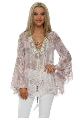 My Story Pink Snake Beaded Tie Neck Top
