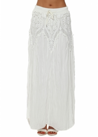 Made In Italy White Lace Overlay Crinkled Maxi Skirt