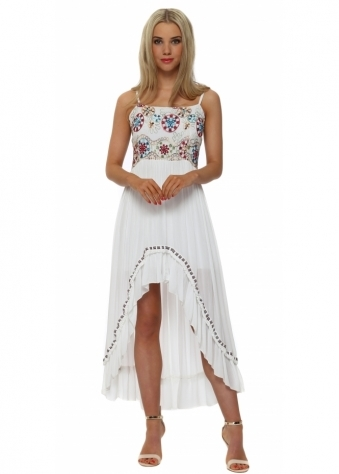 Monton White Embroidered Bodice Hi Low Dress