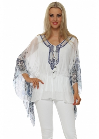 Made In Italy Blue Paisley Print White Silk Kaftan Top