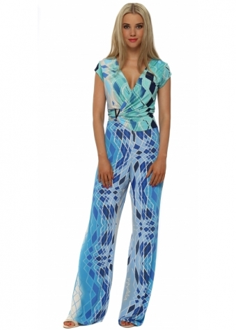 My Story Blue Harlequin Print Silky Palazzo Jumpsuit