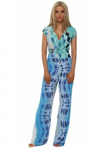 Blue Harlequin Print Silky Palazzo Jumpsuit