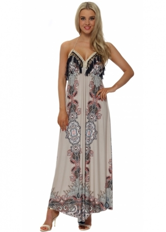 Blush Paisley Print Halterneck Maxi Dress