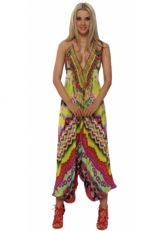 Sarina Yellow Silk Harem Jumpsuit