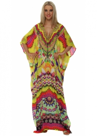 Sarina Yellow Silk Maxi Kaftan