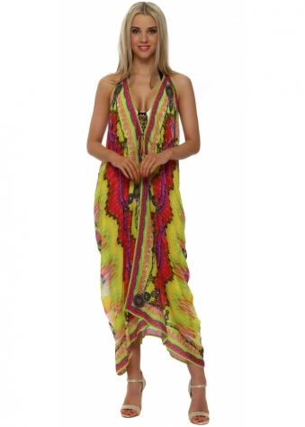 Shahida Parides Sarina Yellow Silk Crepe Beach Cover Up