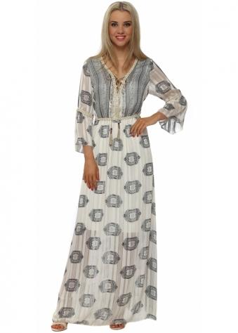 My Story Beige Paisley Print Maxi Kaftan Dress