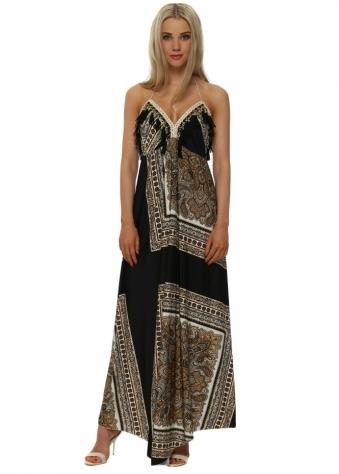Laurie & Joe Black Scarf Print Halterneck Maxi Dress