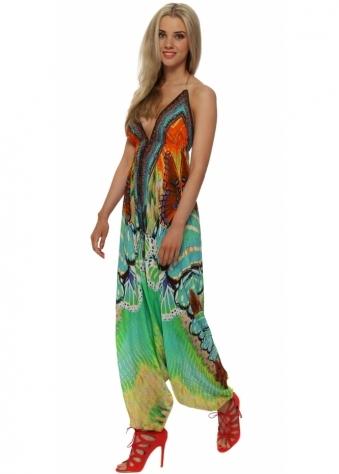Shahida Parides Avatar Aqua Silk Crepe Harem Jumpsuit