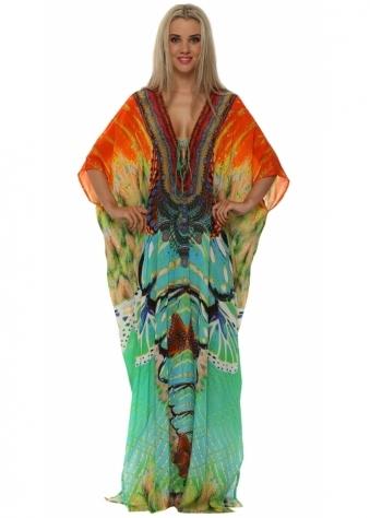 Shahida Parides Avatar Aqua Silk Maxi Kaftan