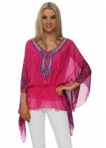 Made In Italy Blue Paisley Print Pink Silk Kaftan Top
