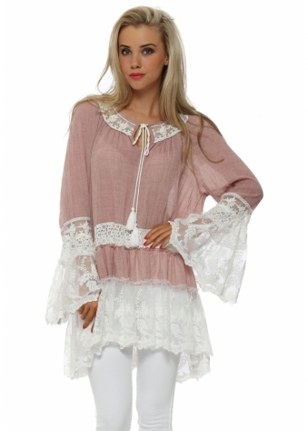 French Boutique Pink Cotton Marl Lace Detail Tunic Top