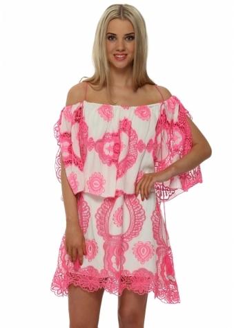 Legende By Angel Pink Lace Off The Shoulder Mini Dress